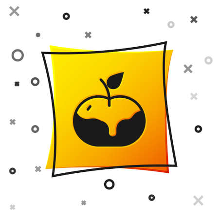 Black Apple in caramel icon isolated on white background. Yellow square button. Vector