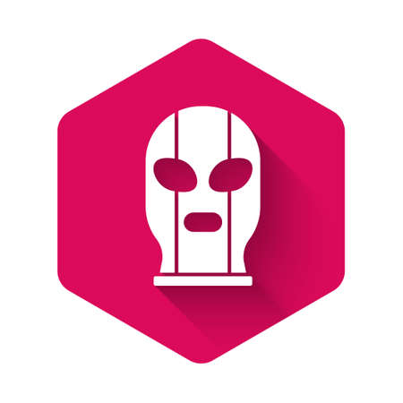 White Mexican wrestler icon isolated with long shadow background. Pink hexagon button. Vector
