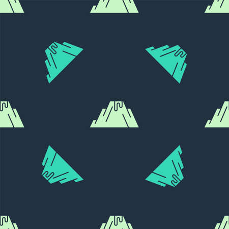 Green and beige Volcano eruption with lava icon isolated seamless pattern on blue background. Vector