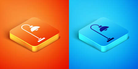 Isometric Floor lamp icon isolated on orange and blue background. Vector