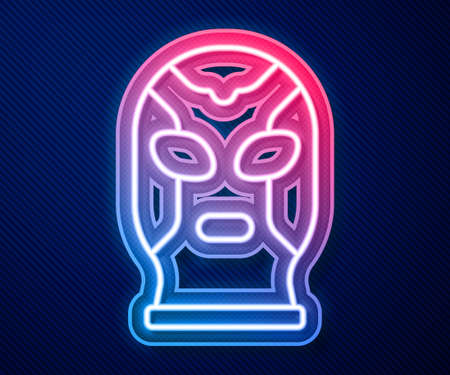 Glowing neon line Mexican wrestler icon isolated on blue background. Vector