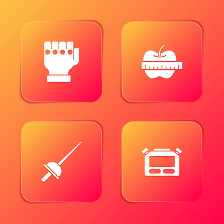Set MMA glove, Apple and measuring tape, Fencing and Stopwatch icon. Vector