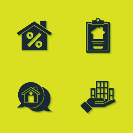 Set House with percant discount, Skyscraper, Real estate message house and contract icon. Vector