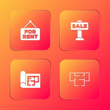 Set Hanging sign with For Rent, Sale, House plan and icon. Vector Illusztráció