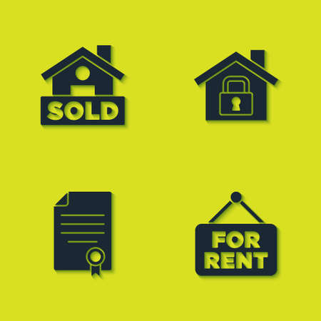 Set Hanging sign with text Sold, For Rent, House contract and under protection icon. Vector Illusztráció