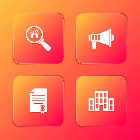 Set Search house, Megaphone, House contract and icon. Vector