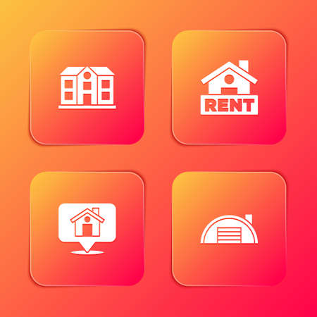 Set House, Hanging sign with Rent, Location house and Warehouse icon. Vector Illusztráció
