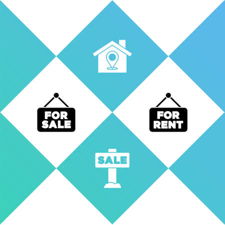 Set Hanging sign with For Sale, , Location house and Rent icon. Vector