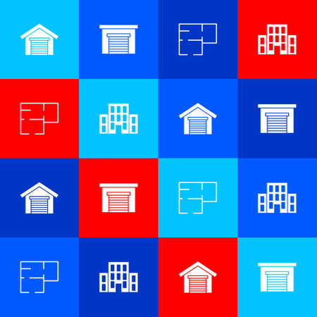 Set Garage, , House plan and icon. Vector