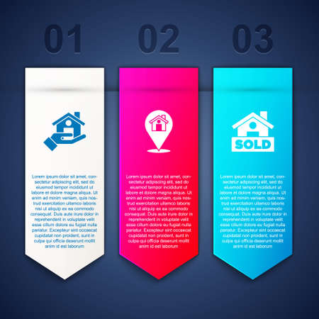 Set Realtor, Location with house and Hanging sign text Sold. Business infographic template. Vector Illusztráció