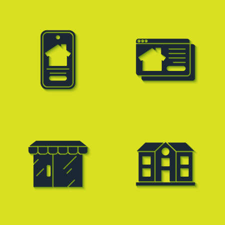 Set Online real estate house, House, Market store and icon. Vector