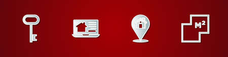 Set House key, Online real estate house, Location with and plan icon. Vector Illusztráció