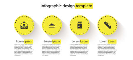 Set Brick stove, Homemade pie, Jar of honey and French baguette bread. Business infographic template. Vector Illusztráció