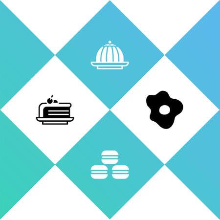 Set Piece of cake, Macaron cookie, Pudding custard and Scrambled eggs icon. Vector Illusztráció