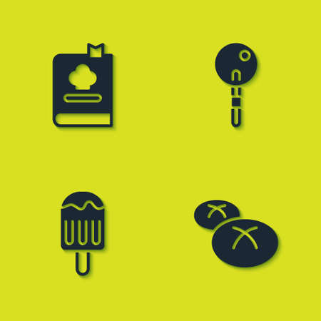 Set Cookbook, Bread loaf, Ice cream and Lollipop icon. Vector Illusztráció