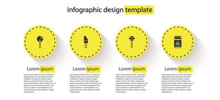 Set Lollipop, Ice cream, and Jar of honey. Business infographic template. Vector Illusztráció