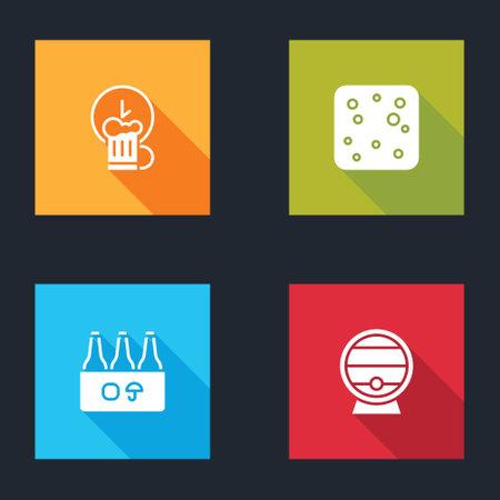 Set Happy hour, Beer bubbles, Pack of beer bottles and Wooden barrel on rack icon. Vector Illusztráció
