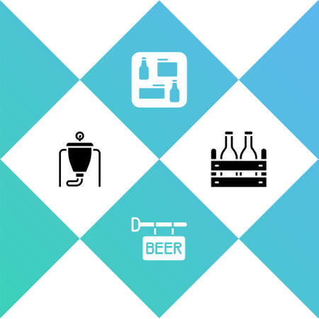 Set Beer brewing process, Street signboard with, menu and Pack of beer bottles icon. Vector Illusztráció