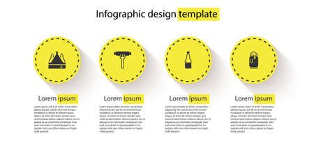 Set Pack of beer bottles, Sausage on the fork, Plastic and Beer can with foam. Business infographic template. Vector