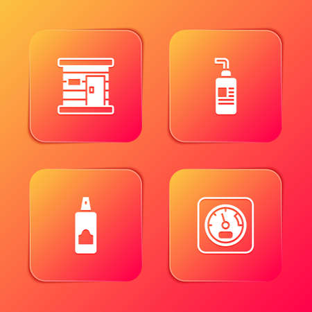 Set Sauna wooden bathhouse, Cream or lotion cosmetic tube, Spray can for hairspray and thermometer icon. Vector