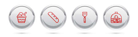 Set line Ice cream in bowl, French baguette bread, Spatula and Brick stove. Silver circle button. Vector