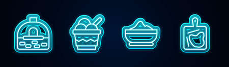Set line Brick stove, Ice cream in bowl, Flour and Cutting board. Glowing neon icon. Vector