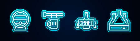 Set line Wooden barrel on rack, Signboard with glass of beer, Beer bottle and Pack bottles. Glowing neon icon. Vector