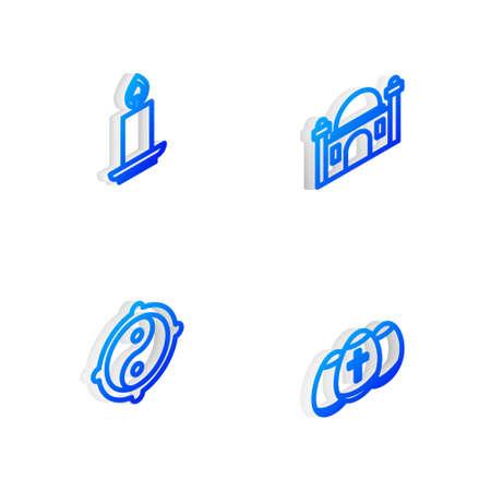 Set Isometric line Muslim Mosque, Burning candle, Yin Yang and Easter egg icon. Vector Ilustração