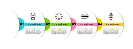 Set line Mexican wrestler, Sun, Fiesta and man sombrero. Business infographic template. Vector