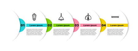 Set line Garden light lamp, Lamp hanging, Chandelier and Fluorescent. Business infographic template. Vector