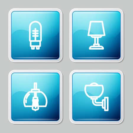 Set line Light emitting diode, Table lamp, Chandelier and Wall or sconce icon. Vector Ilustração