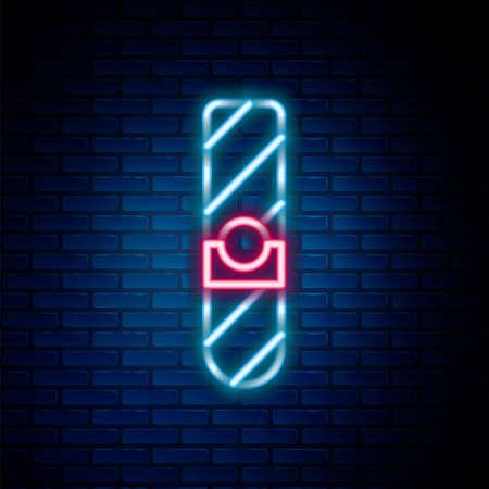 Glowing neon line Cigar icon isolated on brick wall background. Colorful outline concept. Vector Illusztráció