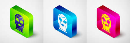 Isometric Mexican wrestler icon isolated on grey background. Square button. Vector