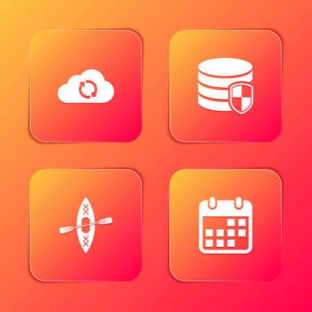 Set Cloud sync refresh, Database protection, Kayak and paddle and Calendar icon. Vector