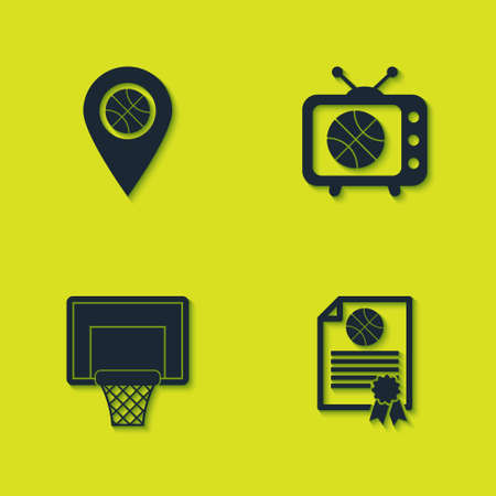 Set Location with basketball ball, Certificate award, Basketball backboard and match tv icon. Vector
