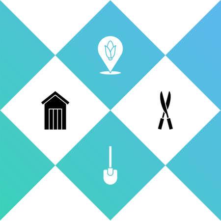 Set Wooden outdoor toilet, Shovel, Location corn and Gardening handmade scissors icon. Vector