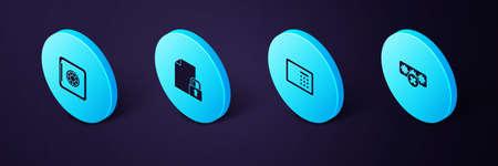 Set Isometric Password protection, Safe, Document and lock and icon. Vector Illusztráció