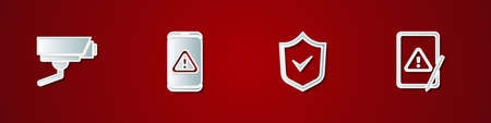 Set Security camera, Mobile with exclamation mark, Shield check and Tablet icon. Vector Illusztráció