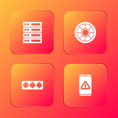 Set Server, Data, Web Hosting, Safe, Password protection and Mobile with exclamation mark icon. Vector