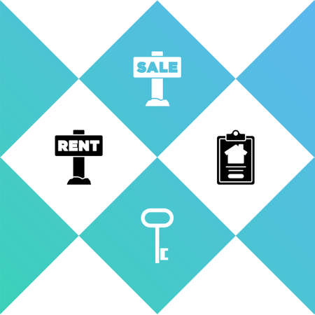 Set Hanging sign with Rent, House key, Sale and contract icon. Vector
