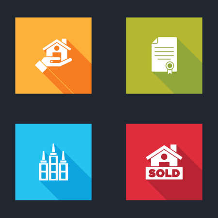 Set Realtor, House contract, Skyscraper and Hanging sign with text Sold icon. Vector Illusztráció