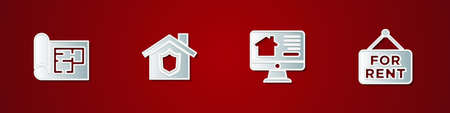 Set House plan, with shield, Online real estate house and Hanging sign For Rent icon. Vector