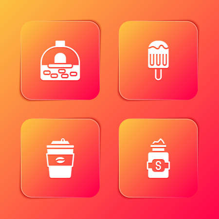Set Brick stove, Ice cream, Coffee cup go and Jar sugar icon. Vector