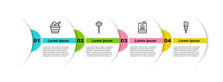 Set line Ice cream in bowl, Lollipop, Cookbook and waffle cone. Business infographic template. Vector Ilustração