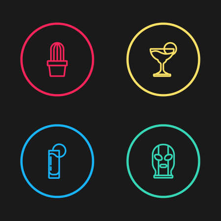 Set line Tequila glass with lemon, Mexican wrestler, Margarita cocktail and Cactus or succulent in pot icon. Vector