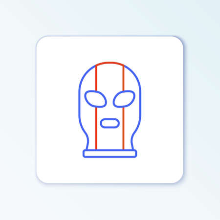 Line Mexican wrestler icon isolated on white background. Colorful outline concept. Vector Stock Illustratie