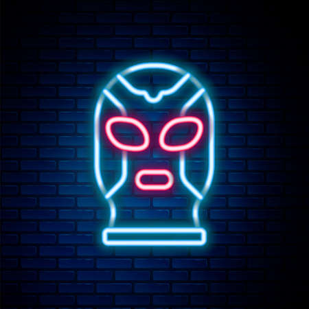 Glowing neon line Mexican wrestler icon isolated on brick wall background. Colorful outline concept. Vector