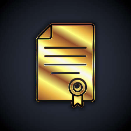 Gold House contract icon isolated on black background. Contract creation service, document formation, application form composition. Vector
