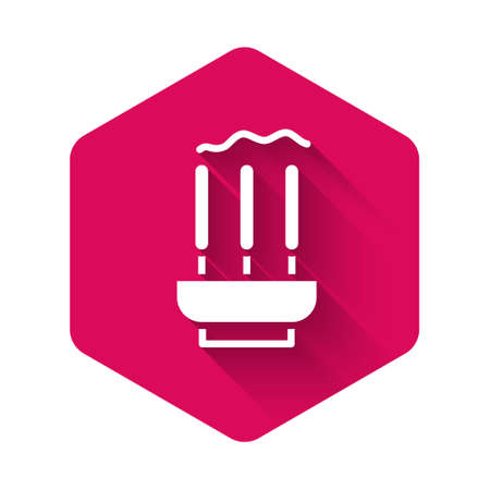 White Burning aromatic incense sticks icon isolated with long shadow background. Pink hexagon button. Vector