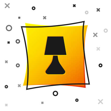 Black Table lamp icon isolated on white background. Desk lamp. Yellow square button. Vector